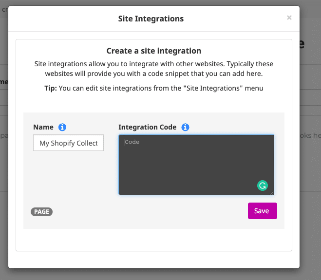 Getting started with Site integrations